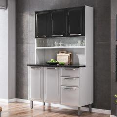 Cozinha-Compacta-Regina-com-Vidro-Branco-e-Preto